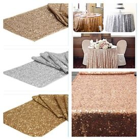 Sequin cloths and table runners