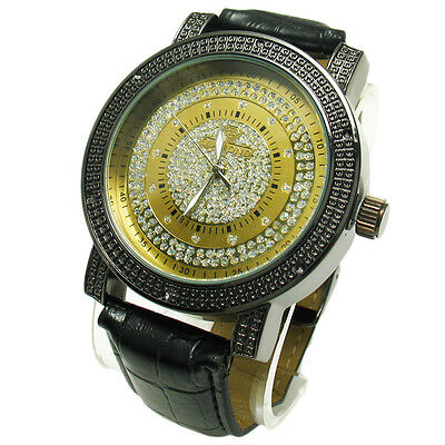 Genuine Diamond Men's Iced Out Gold Face Watch