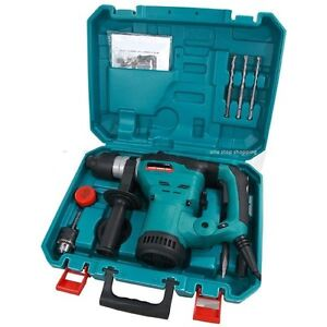 HEAVY DUTY 1200W ROTARY SDS HAMMER DRILL 240V & CHISELS IN CASE 3 YEAR WARRANTY