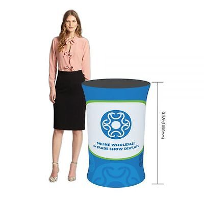 Oval Fabric Tension Counter Display With Custom Graphic Printing For Trade Show