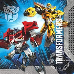 TRANSFORMERS PARTY SUPPLIES LUNCH NAPKINS PACK OF 16 TRANSFORMERS 4 NEW DESIGN