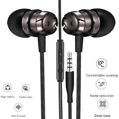 HTC Sony iPhone Samsung Stereo Bass Metal Black In-Ear Earphones Headphones MIC