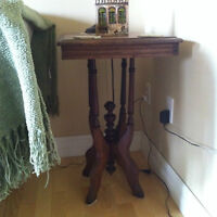 ANTIQUE  NIGHT OR SIDE TABLE 17X22 BY 28 HIGHT.