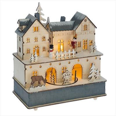 Mid West Wood Lighted LED Bavarian Christmas House Scene Music Box](Led Christmas Scene)