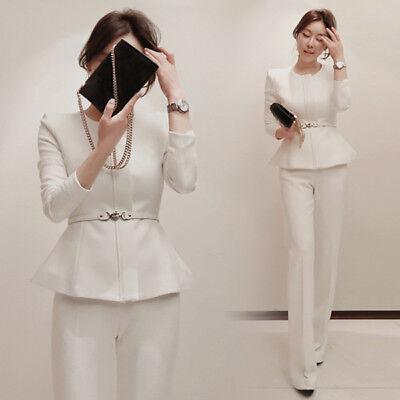 Tailleur completo donna bianco giacca manica lunga e pantalone cod 4831