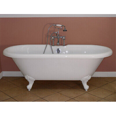 Randolph Morris 66 Inch Acrylic Double Ended Clawfoot Tub - Rim Faucet Drillings