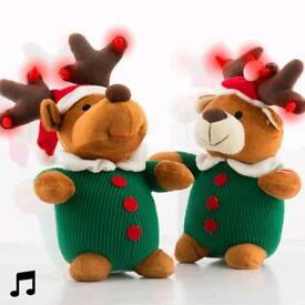 Singing Christmas Stuffed Animal with Lights and movement
