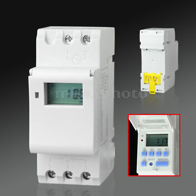 New Din Rail Digital Lcd Power Programmable Timer Ac 220v 16a Time Relay Switch