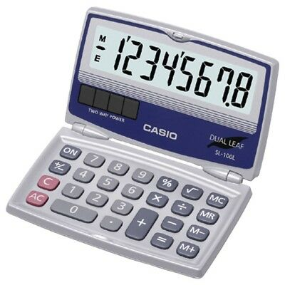 Casio SL-100L Basic Solar Calculator w/Folding Hard Case