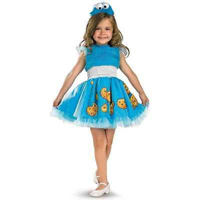 SESAME STREET COOKIE MONSTER COSTUME Girls 4-6X 4 5 6 Halloween (Cookie Girl Costume)