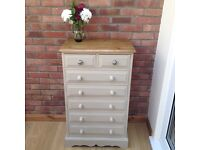NOW SOLD - Vintage solid pine chest of drawers painted in Annie Sloan