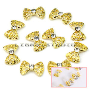 10 x 3D Elegant Alloy Rhinestones Bow Tie Nail Art Glitters DIY Decorations Gold