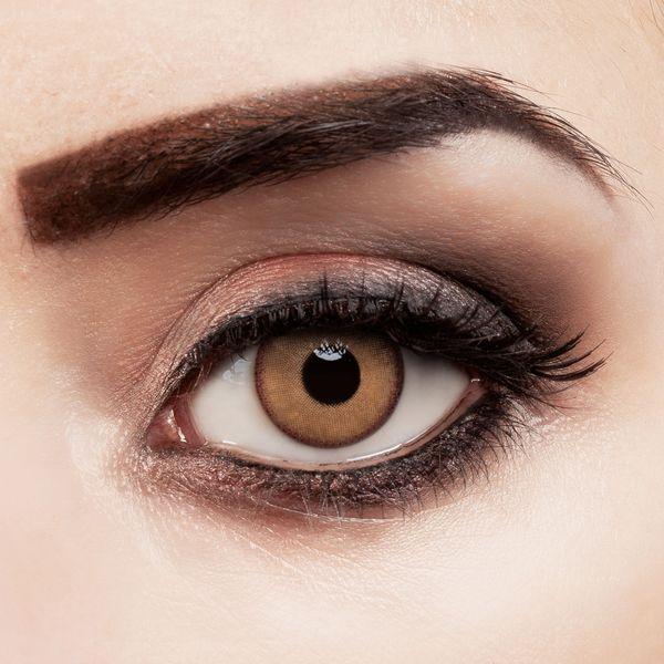 Farbige Kontaktlinsen Pure Hazel stark deckend mit natürlichem Effekt in braun