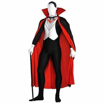 Adult Mens Vampire Second Skin Halloween Party Suit Dracula Fancy Dress Costume
