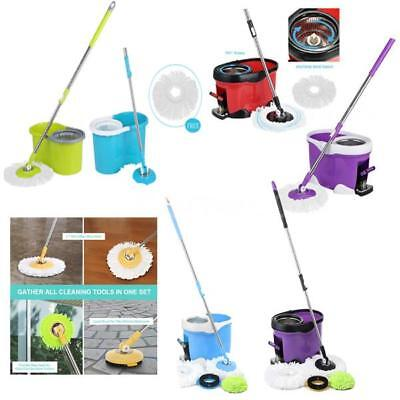 Easy Clean Floor 360  Spin Mop Bucket 2 4 Mop Heads Microfiber Spinning Rotating