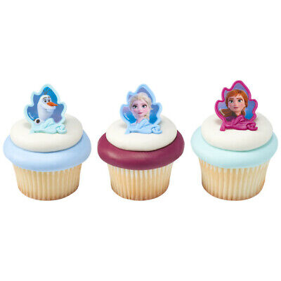 Frozen Cupcake Cake (12 Ct Frozen 2 Movie Cupcake Cake Rings Birthday Party Favor Toppers Gift)