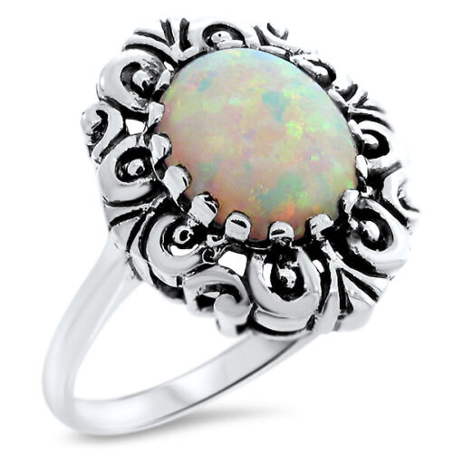 ANTIQUE VICTORIAN STYLE 925 STERLING SILVER SYN OPAL RING                   #836