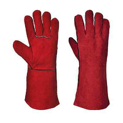 Portwest Red Welders Gauntlet Gloves Size Xl Cotton Lining A500