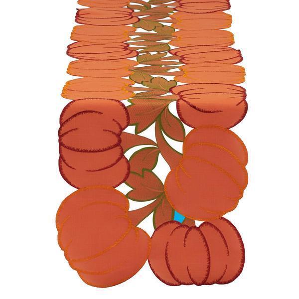 "Pumpkins Embroiderd Table Runner - 60"" L x 14"" W - DII - Aut"