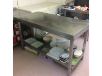 Commercial stainless steel prep table.