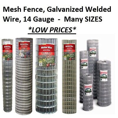 Galvanized Welded Mesh Fence (Galvanized Welded Wire Mesh Cage Fence, 14 Gauge - MANY SIZES & MESH OPTIONS )