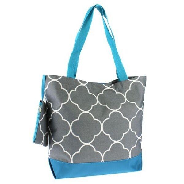"Ever Moda Tote Bag - 18""- Quatrefoil Gray & Turquoise"