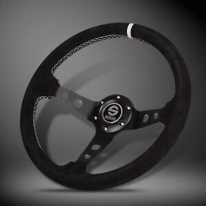 350mm Sparco Deep Dish Black Suede Leather Sport Racing Steering Wheel w/ Horn
