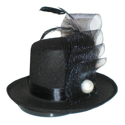 Jacobson Hat Company Pearl and Feather Black Mini Top Hat,One Size](Mini Top Hat Black)
