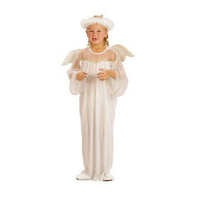 Kids Childs Angel Fancy Dress Costume With Wings & Halo Christmas Nativity Girls