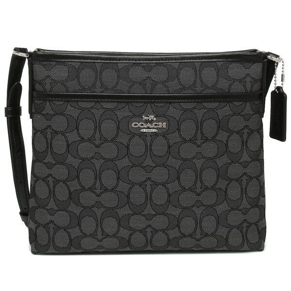 Coach F29960 Signature Jacquard Crossbody File Bag Black Smo