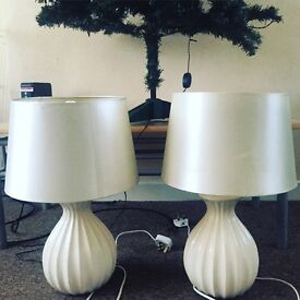 Two large cream lamps