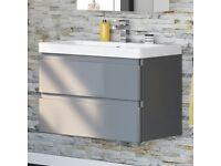 800mm Denver 2 Gloss Grey Basin Drawer unit-Wall Hung