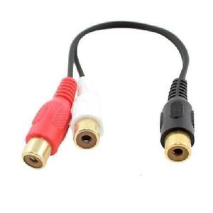 6in. TechCraft 1RCA Female to 2RCA Female Audio Y-Splitter Cable
