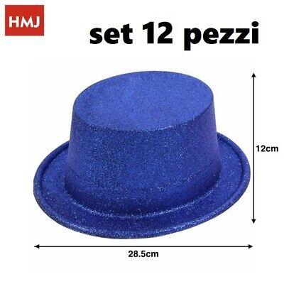 Set 12 Pezzi Cappello Cappelli Glitter Brillantati Blu Per Feste Party hmj