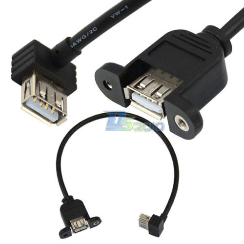 USB 2.0 Female to USB 2.0 Female 90° up Angle SOCKET Panel Mount Cable Adapter