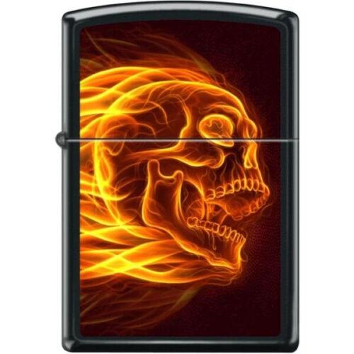 Zippo Lighter - Flaming Skull Black Matte - 854470