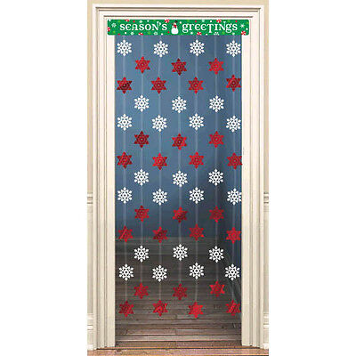 Winter Party Supplies (Snowflake Foil Door Decoration Holiday Party Supplies Christmas Decor Red)