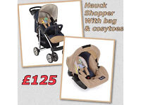 BRAND NEW HAUCK SHOPPER SHOP N DRIVE PRAM PUSHCHAIR LAYS FLAT WITH CAR SEAT COSYTOES AND BAG