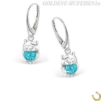 Kristall Eule Brisur 925 Silber Ohrhänger Kinder Mädchen Ohrringe 8626 11 x 7mm