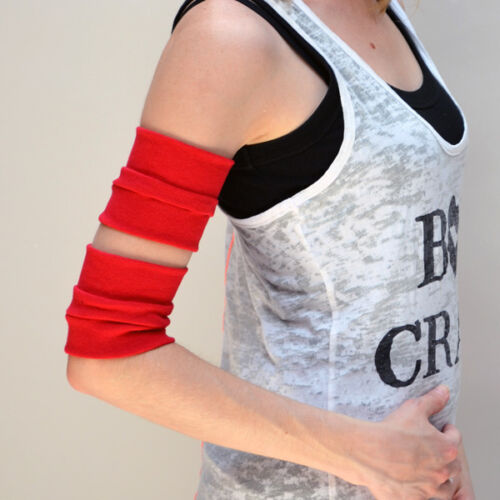 Red Cotton Arm Bands Rollerderby Cuffs Costume Gloves Wraps Bicep Mens Cosplay