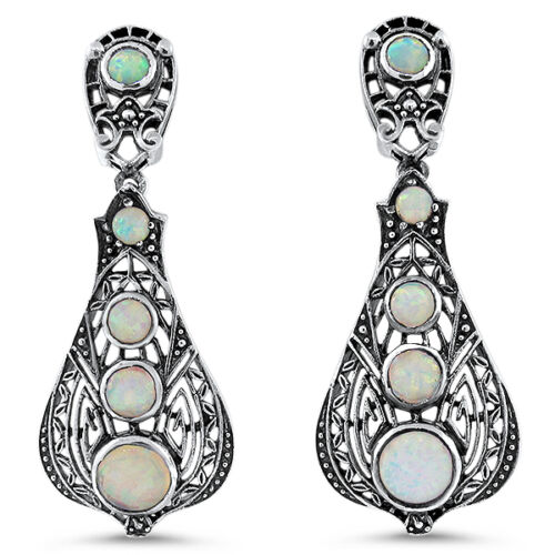 LAB WHITE OPAL ANTIQUE VICTORIAN DESIGN 925 STERLING SILVER EARRINGS,  #652