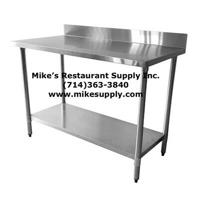 New 30x96 Work Table 4 Back Splash 430 Stainless Steel Food Prep Station 5039