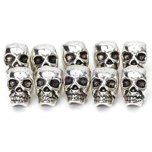 10 Tibet Silver Antique SKULL Big Hole SPACER BEAD DIY