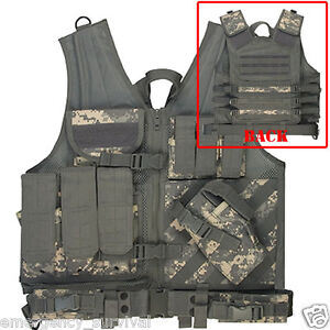 Army-Digital-ACU-Camouflage-Cross-Draw-Load-Bearing-Tactical-Vest-Chest-Rig
