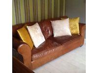 John Lewis Large Brown Leather Sofa