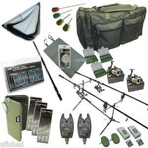 Full-Carp-Fishing-Set-up-Rods-Reels-Hair-Rigs-Bite-Alarms-Holdall-Tackle