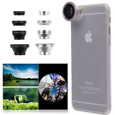 4in1 Fish Eye+ Wide Angle+ Micro + Telephoto Camera Lens for Apple Iphone 6