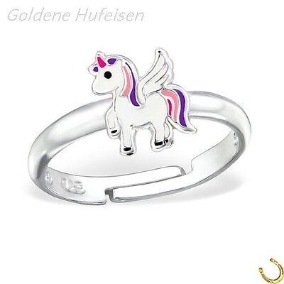 Alicorn Einhorn Kinder Ring 925 Echt Silber Mädchen Pferd Geschenkidee