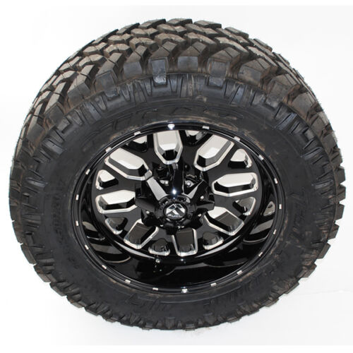 """20"""" D588 Fuel Titan 20x12 Black Milled 35x12.50r20 Nitto Trail Grappler Mt"""