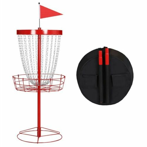24 Chain Portable Disc Golf Basket Target Metal Practice Basket w/ Carrying Bag